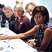 Michelle Obama Attends A Meeting Art Print