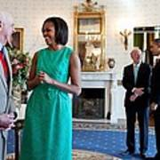 Michelle Obama Laughs With National Art Print