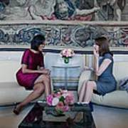 Michelle Obama With Carla Bruni-sarkozy Art Print