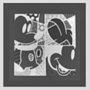 Mickey In Negative Black And White Art Print