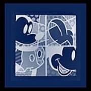 Mickey In Negative Deep  Blue Art Print