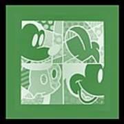 Mickey In Negative Olive Green Art Print