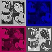 Mickey In Quad Colors Art Print