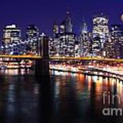 Midnight In The Shadow Of Brooklyn Bridge - Brooklyn Bridge Art Print