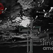 Midnight Raid Under The Red Moonlight Art Print
