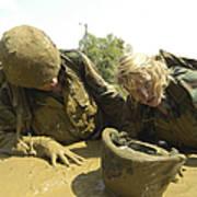 Midshipmen Maneuver Through A Mud Pit Art Print