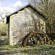 Mill And Water-wheel Near Ashford-in-the-water Art Print