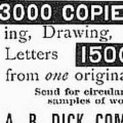 Mimeograph Ad, 1890 Art Print