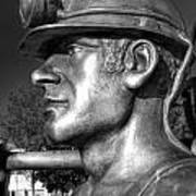 Miner Statue Monochrome Art Print