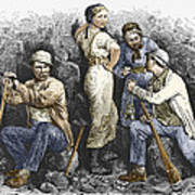 Miners And Their Wives, 19th Century Art Print by Sheila Terry