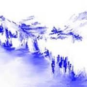 Minimal Landscape Monochrome In Blue 111511 Art Print
