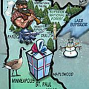 Minnesota Cartoon Map Art Print