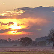 Misty Country Sunrise  Art Print