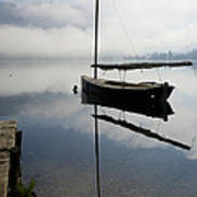 Misty Morning On Lake Bohinj Art Print