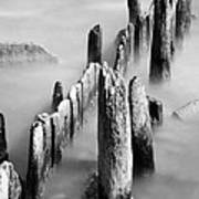 Misty Wooden Posts Art Print