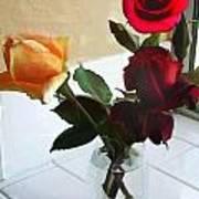 Mixed Roses In Crystal Vase Art Print