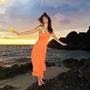 Model In Orange Dress II Art Print