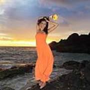 Model In Orange Dress Art Print