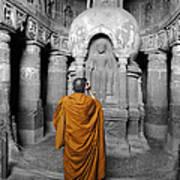 Monk At Ajanta Caves India Art Print