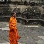 Monk At Ankor Wat Art Print