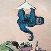 Monkey Stealing An Apple Art Print