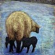 Monkton Ewe With Her Lambs In The Snowy Field Art Print
