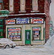 Montreal Corner Market Winter Scene Art Print