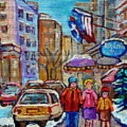 Montreal Street Scenes In Winter Art Print by Carole Spandau