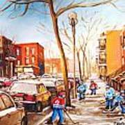 Montreal Street With Six Boys Playing Hockey Art Print