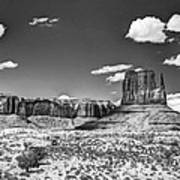 Monument Valley In Monochrome  Art Print