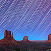 Monument Valley Star Trails  Art Print by Jane Rix