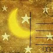 Moon And Star Postcard Art Print