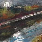 Moon From Washington Crossing Pa Bridge Art Print