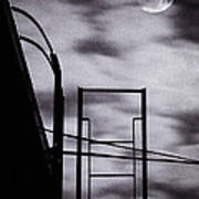 Moon Over Brooklyn Rooftop Print by Gary Heller