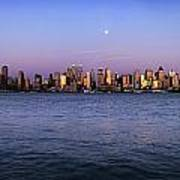 Moon Over Midtown Manhattan Skyline Art Print