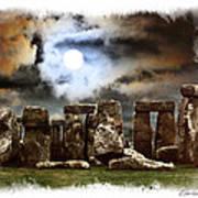 Moon Over Stonehenge Art Print