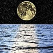 Moon Over The Sea, Composite Image Art Print