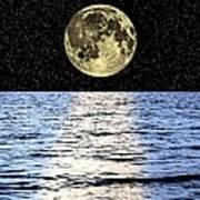 Moon Over The Sea, Composite Image Art Print by Victor De Schwanberg
