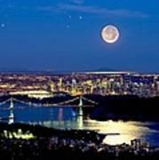 Moon Over Vancouver, Time-exposure Image Art Print by David Nunuk