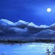 Moonlight Over The Chugach Art Print
