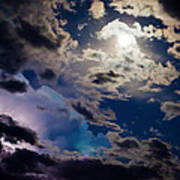 Moonlit Clouds With A Splash Of Lightning Art Print