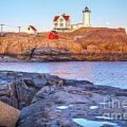 Moonrise At Nubble Light  Art Print