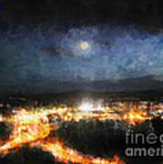 Moonshine Over Prescott Art Print by Arne Hansen