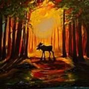 Moose Sunset Art Print
