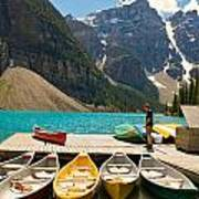 Moraine Lake - Banff National Park - Canoes Art Print