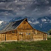 Mormon Barn Under Approaching Storm Art Print