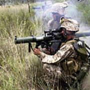 Mortarman Fires An At4 Anti-tank Weapon Print by Stocktrek Images