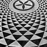 Mosaic Black And White Floor Art Print