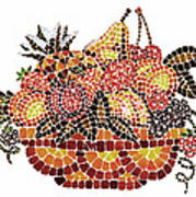 Mosaic Fruits Art Print