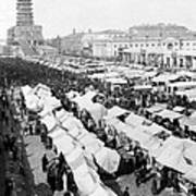 Moscow Russia - The Great Sunday Market - C 1898 Art Print